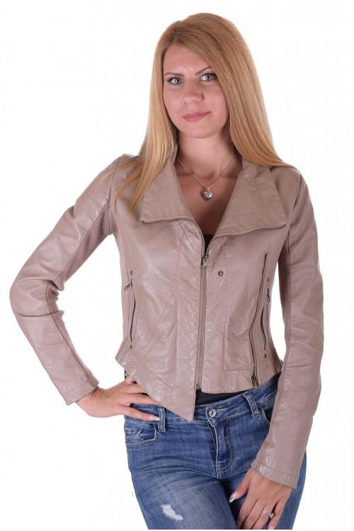 9cbfce9cbb4 Бежово дамско кожено яке | estestvena.com - кожени дрехи и аксесоари.