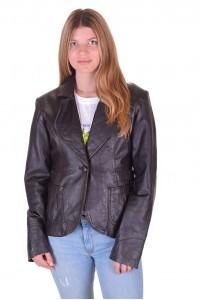 Тъмно кафяво дамско кожено сако