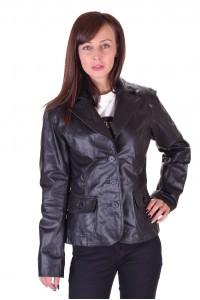 Стегнато дамско кожено сако