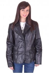 Черно дамско кожено сако
