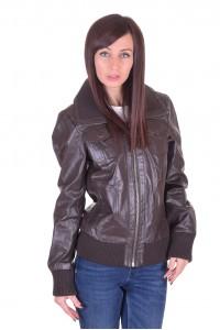 Тъмно кафяво кожено яке