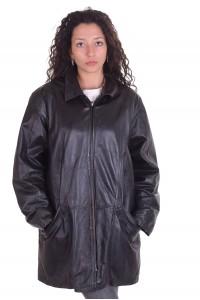 Черно яке от естествена кожа