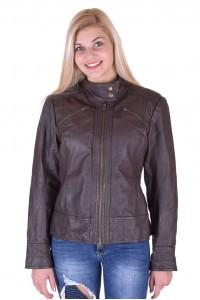 Кафяво дамско кожено яке