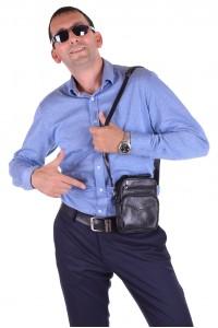 Черна мъжка кожена чанта