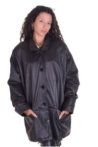 Стилно черно яке от естествена кожа
